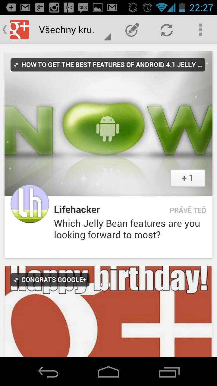 Nová verze Google+ pro Android se zatraceně povedla