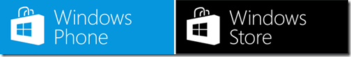 The icons for the Windows Phone Store and Windows Store for apps and games.