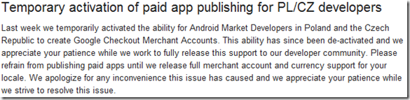Temporary activation of paid app publishing for PL CZ developers - Android Market for Developer Help-085814