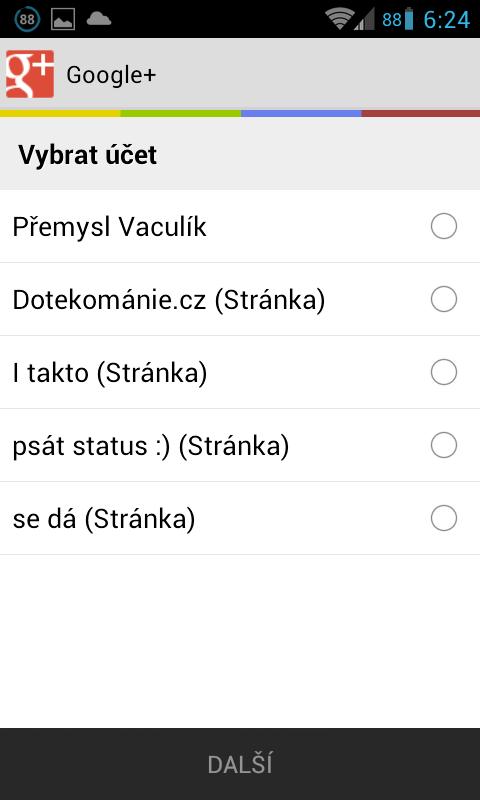 Aplikace Google Plus podporuje stránky