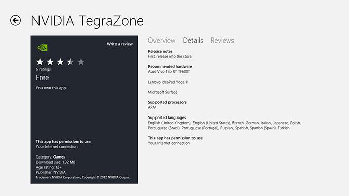 TegraZone přichází na Windows RT