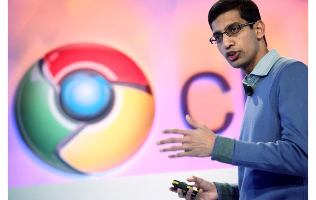 Sundar Pichai, vice president of product management for Google, speaks during the company's Chrome event in San Francisco