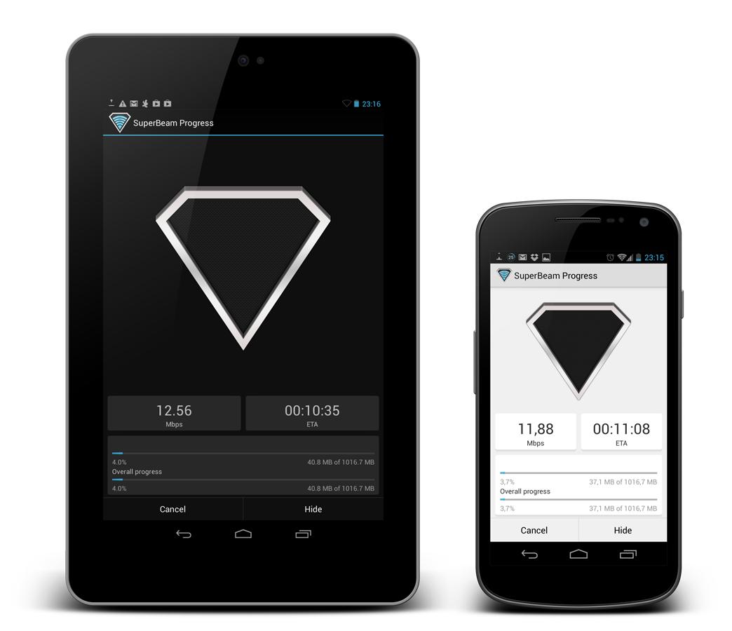 SuperBeam – sdílení s využitím WiFi Direct, NFC, QR