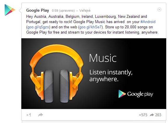 Google Play Music je nově u sousedů, my si zatím počkáme