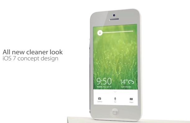 Plochý koncept iOS 7 na videu