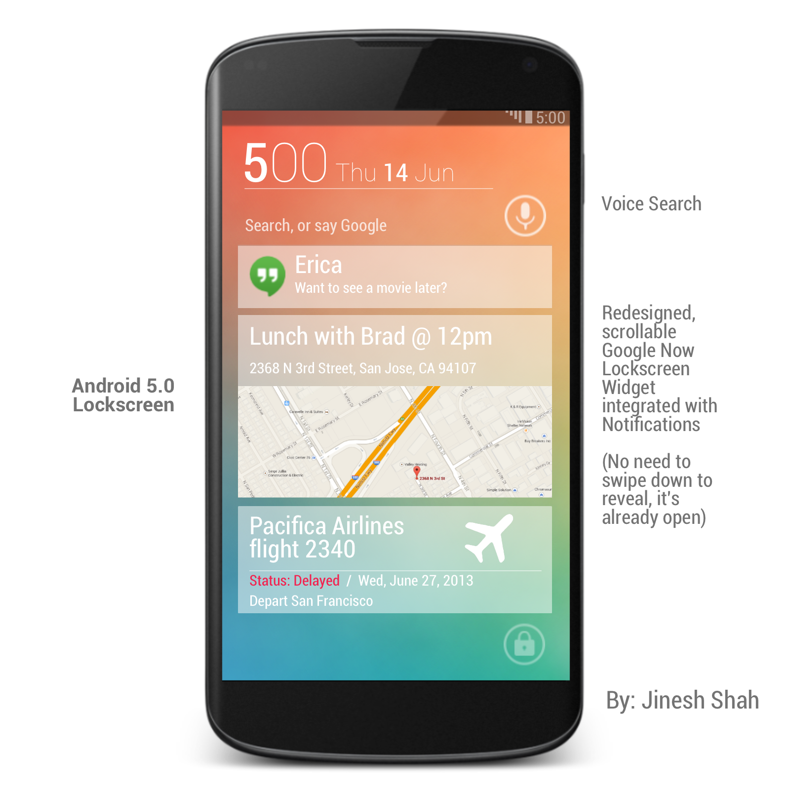 Koncept vzhledu Androidu 5.0 Key Lime Pie