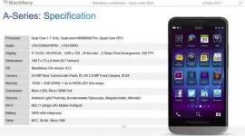 BlackBerry A10 – únik kompletních specifikací