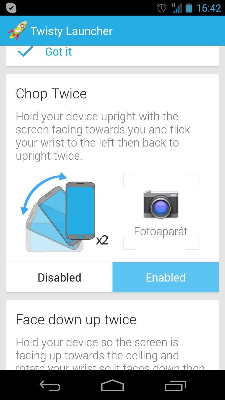 Twisty Launcher – zatřes mobilem a spustí se aplikace