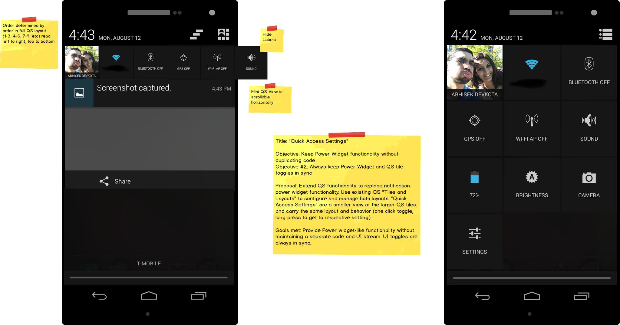 CyanogenMod nabídne panel rychlých nabídek přímo v notifikační liště