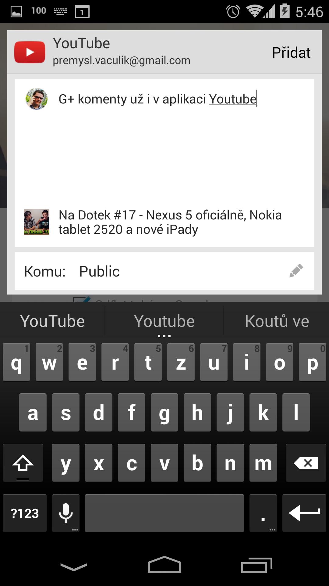 G+ komentáře v aplikaci Youtube pro Android