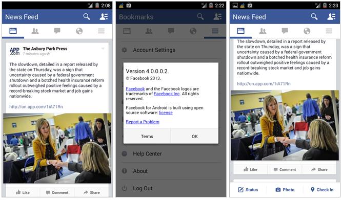 Facebook pro Android s kompletně novým designem