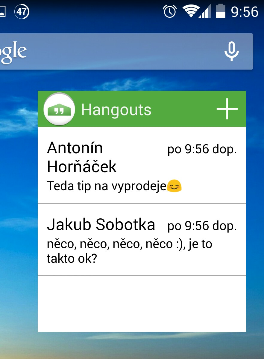 Widget pro Hangouts v Obchodě Play