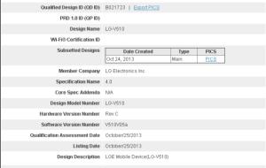 LG V510 - možná Nexus 8 - cerfitikace Bluetooth