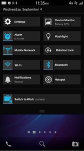 BlackBerry OS 10.2.1 - rychlé menu