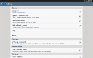 Samsung Galaxy Note 10.1 2014 Edition - S Voice nastavení