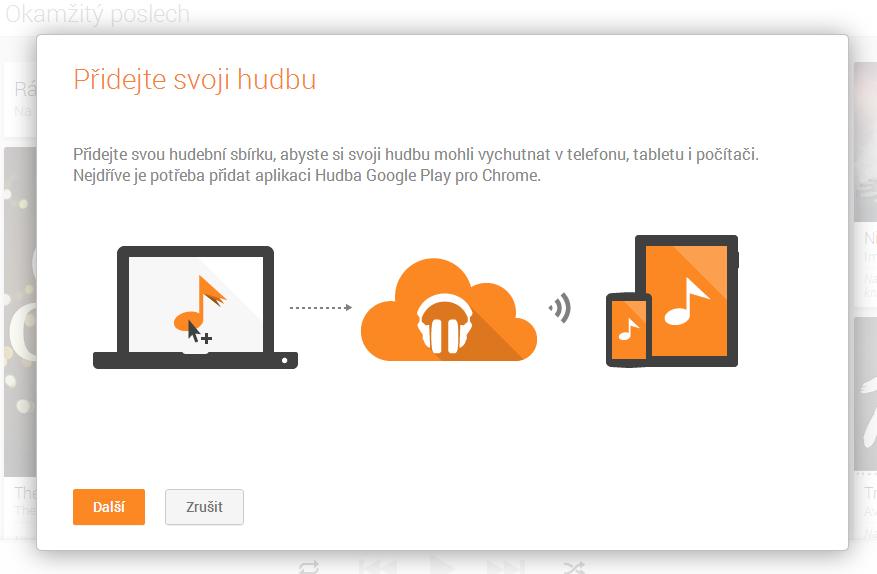 Hudba Google Play – nahrávání hudby přes Chrome