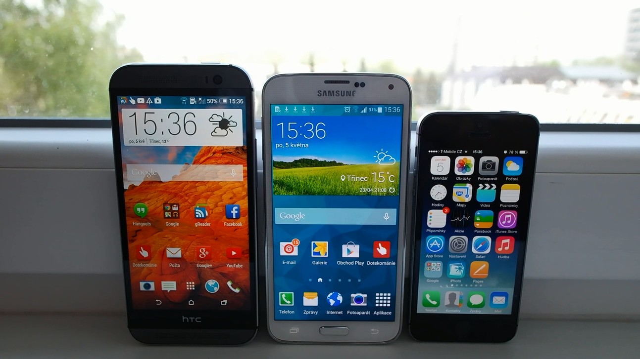 Videosrovnání – HTC One M8, Galaxy S5 a iPhone 5s