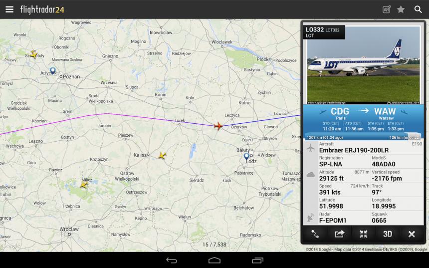 Радар самолётов в реальном времени