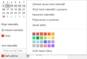 Google Kalendář - daně