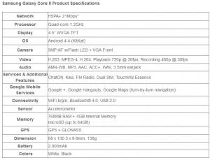 Samsung Galaxy Core 2 - specifikace