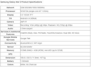 Samsung Galaxy Star 2 - specifikace