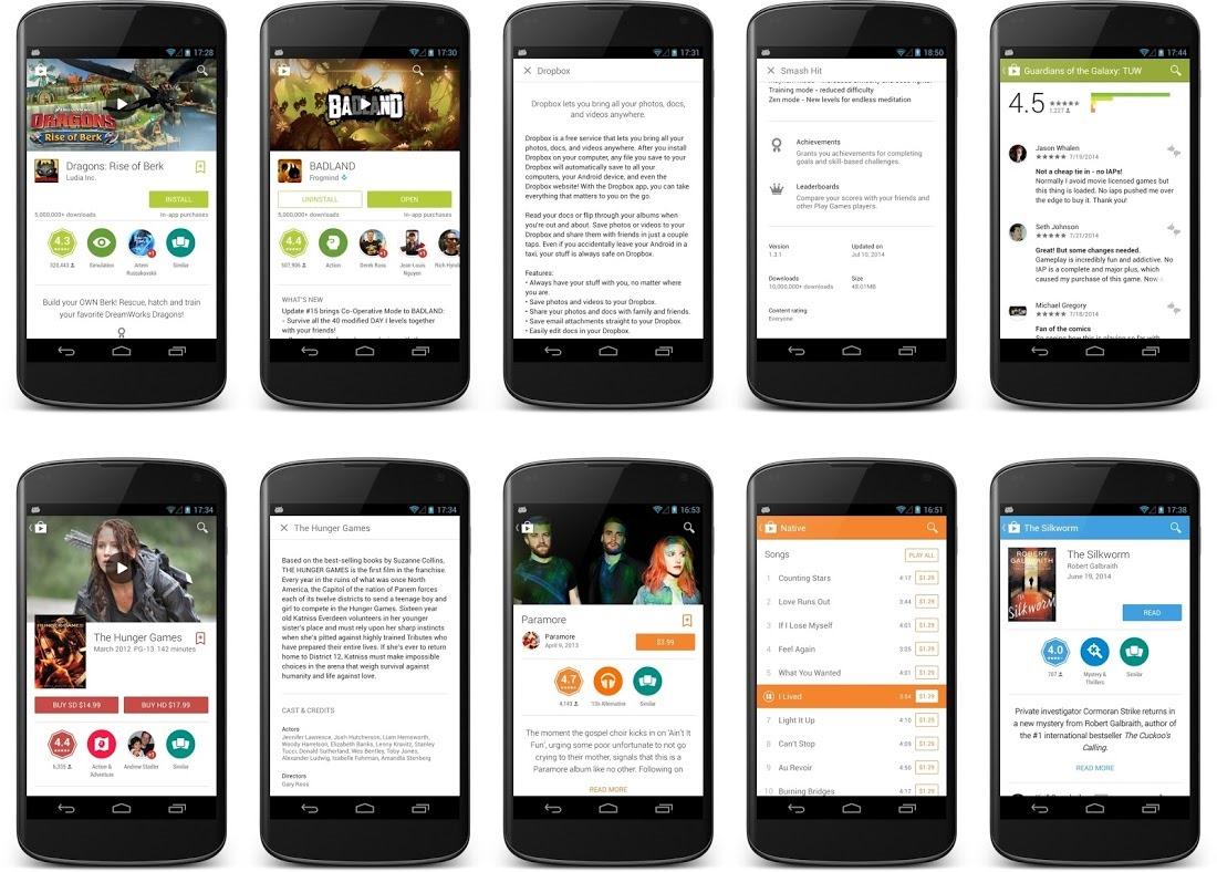 Aplikace Obchod Play – nový vzhled pro karty položek [apk]
