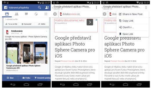 Facebook – odkazy se budou otevírat v zabudovaném prohlížeči [Android]