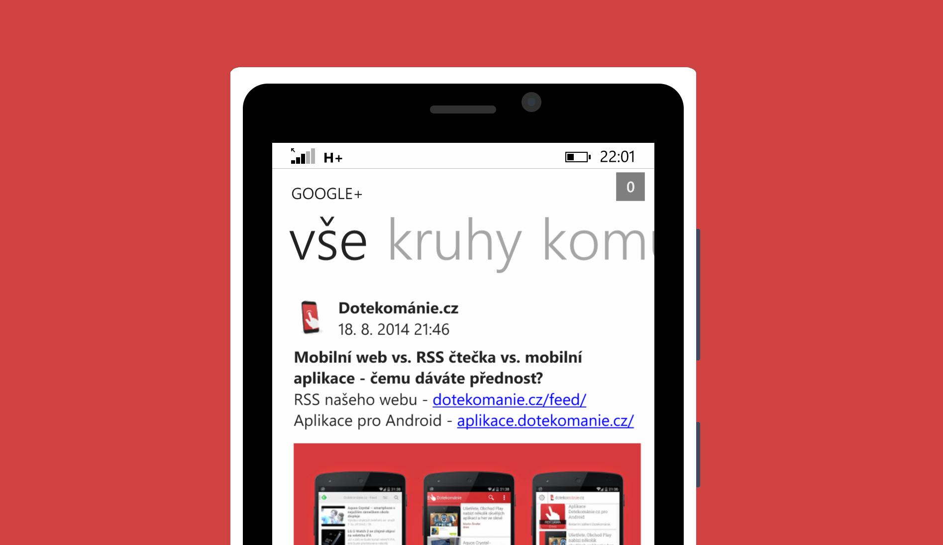 Google+ pro Windows Phone se ve spolupráci s Dotekománií dočkalo češtiny
