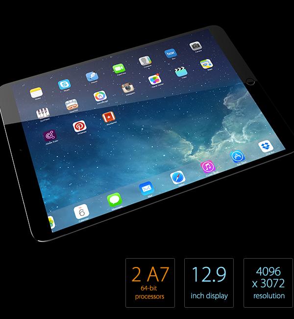 iPad s 12,9 palcovým displejem údajně přijde na začátku roku 2015