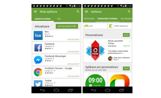 Obchod Google Play získává více Material Designu