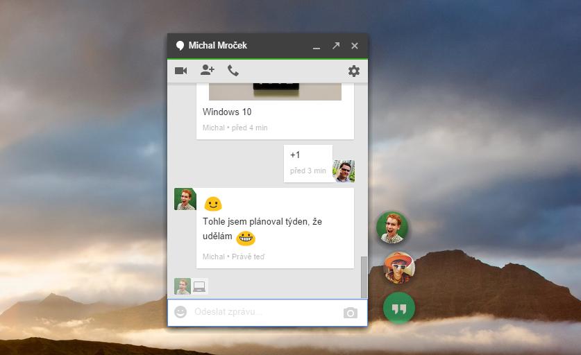Nová aplikace Hangouts pro počítače