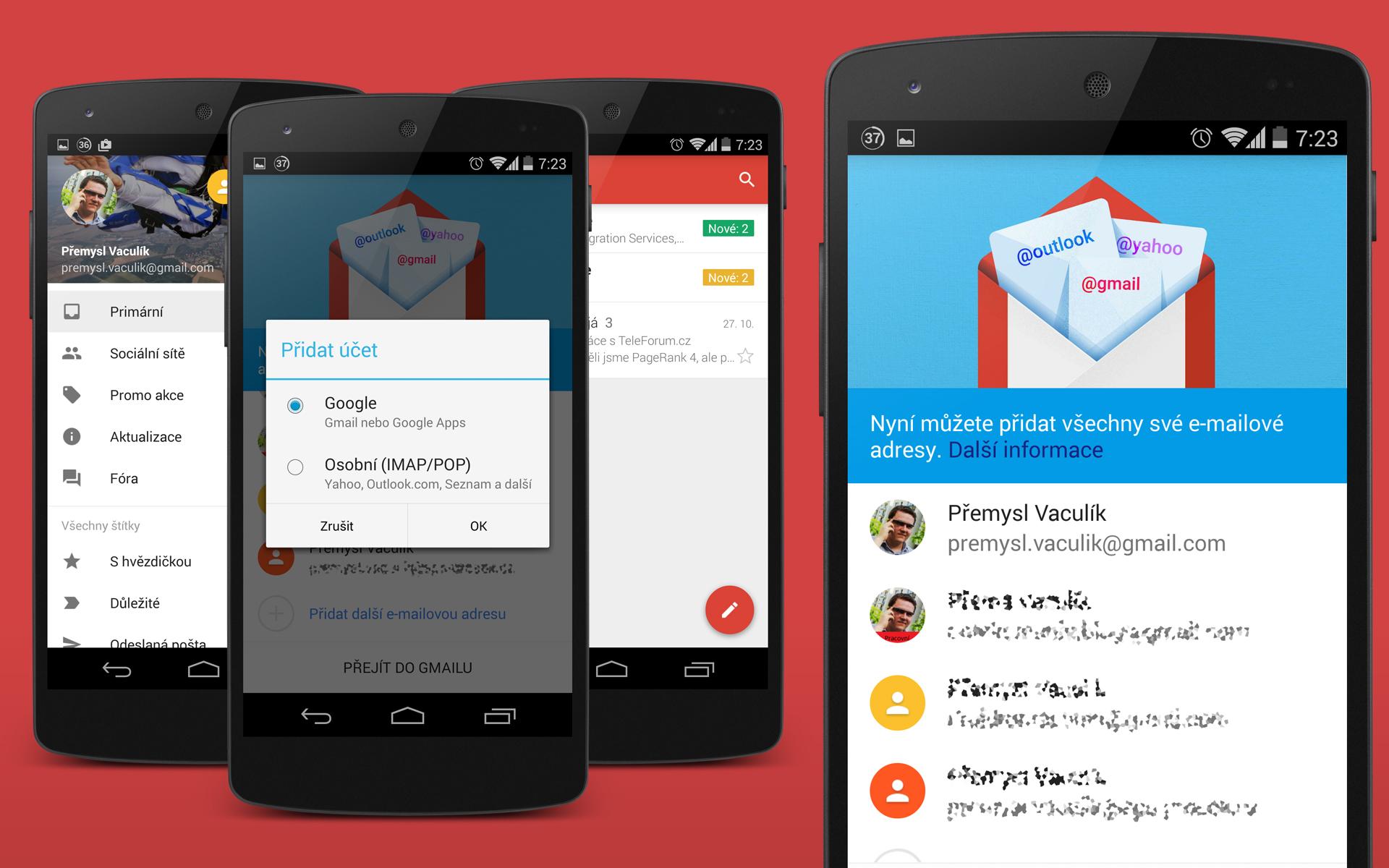 Gmail 5.0 nově v Material Designu