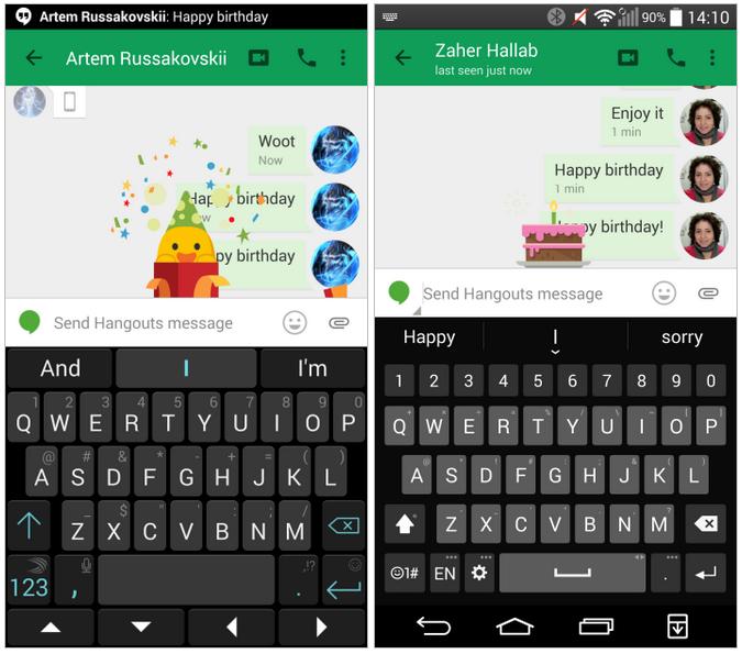 Hangouts pro Android skrývá animace