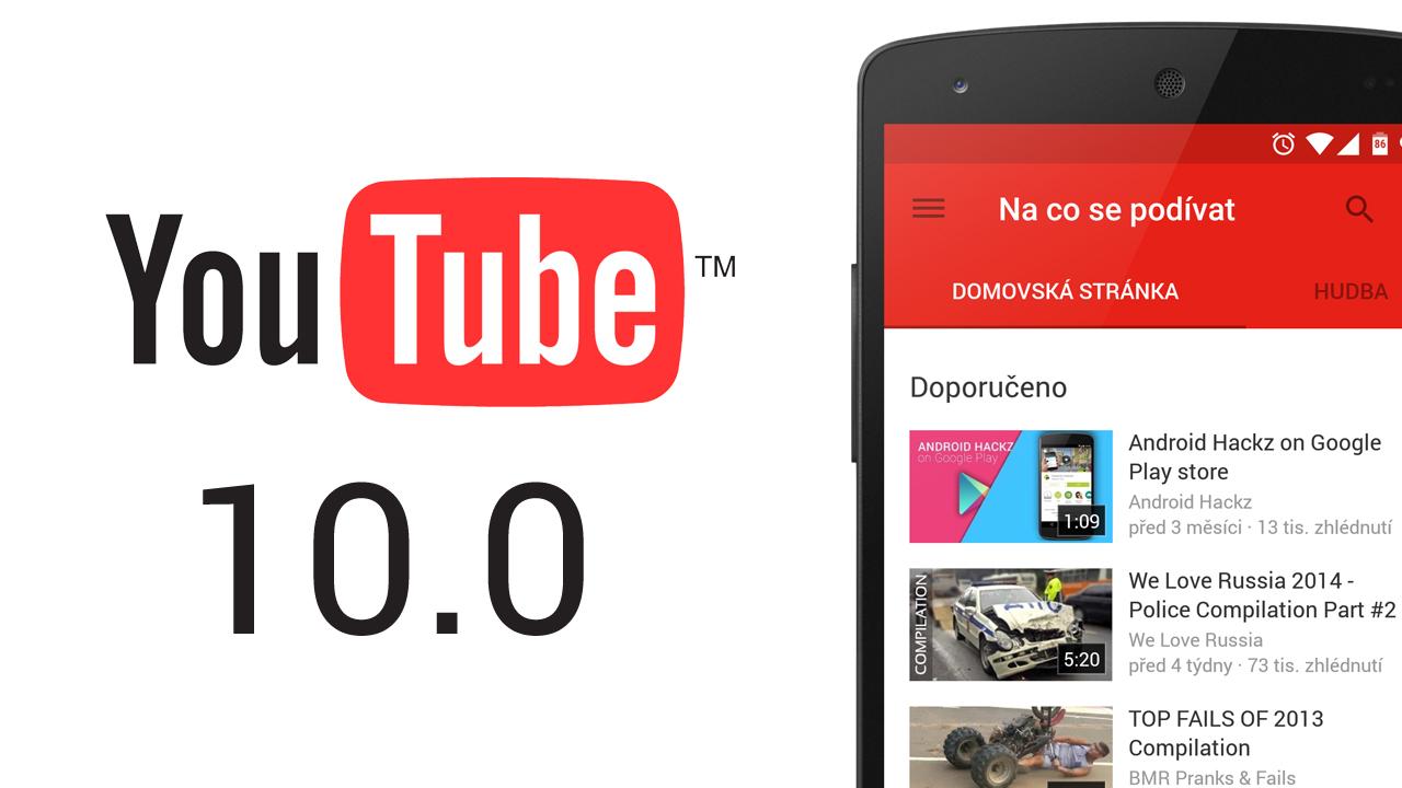 Youtube pro Android – z verze 6.0 rovnou na 10.0