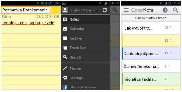 ColorNote – barevné a funkční poznámky pro váš Android