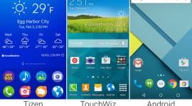 Porovnání vzhledů Tizenu, TouchWizu a Androidu