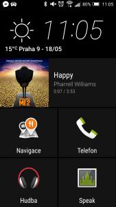 Hlavní obrazovka aplikace Auto