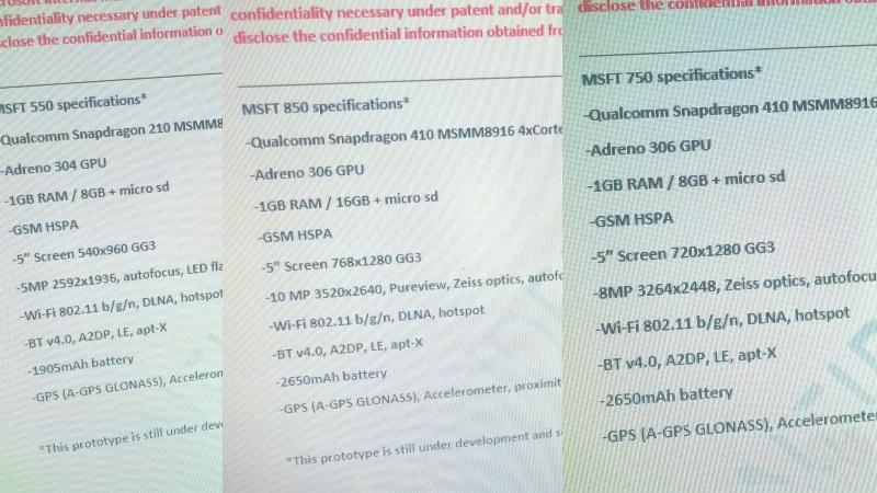 Unikly specifikace Lumií 550, 750 a 850, na trh se však nedostanou
