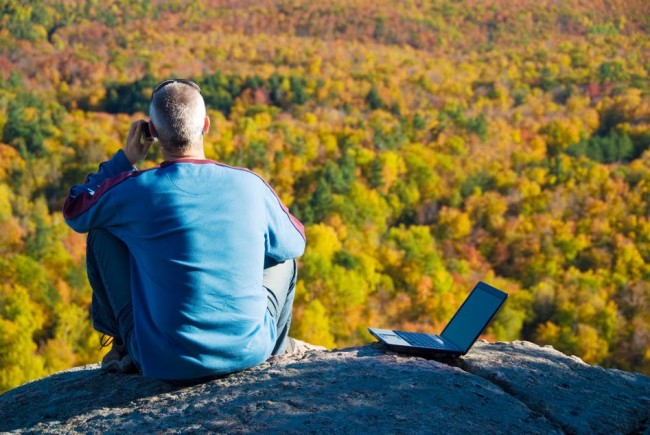 getting away from it all on the laptop in nature