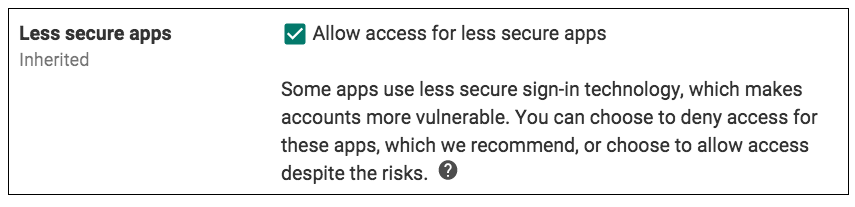 Less Secure Apps - AC Setting