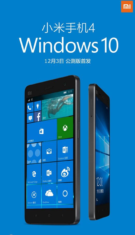 Xiaomi Mi 4 dostává podporu Windows 10 mobile
