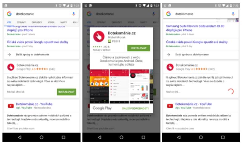 Google zavádí možnost instalace aplikací z vyhledávání
