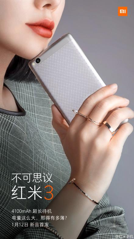 Xiaomi Redmi 3 má přijít s baterií o kapacitě 4 100 mAh