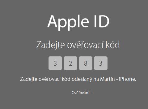Dvoufázové oveření Apple ID v České republice