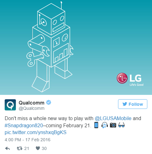 Qualcomm confirms LG G5 will use Snapdragon 820 AndroidAuthority