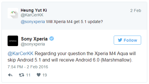 Xperia M4 Aqua will directly be updated to Marshmallow Sony confirms GSMArena.com news