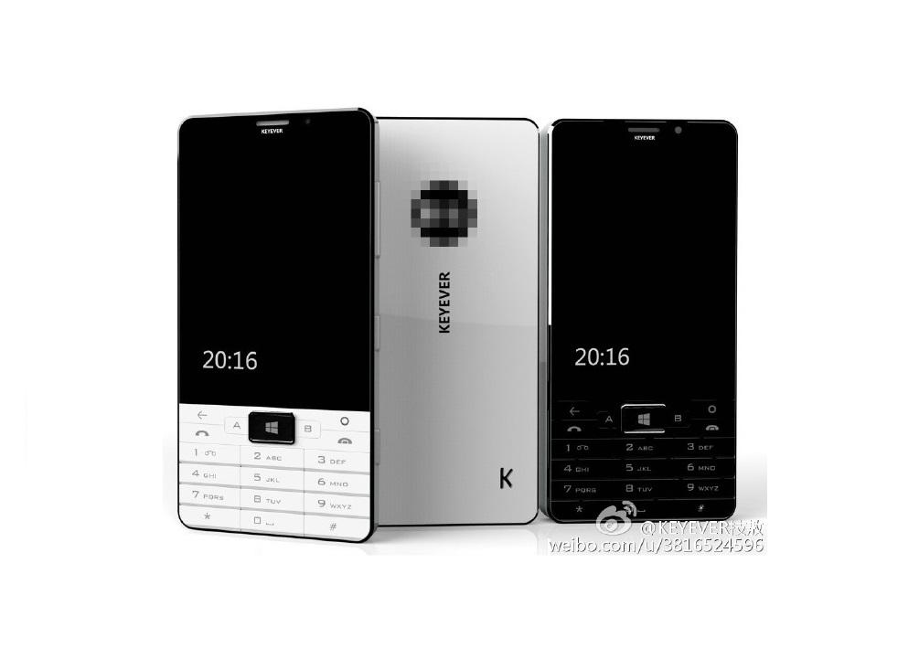 Čínský Keyever pracuje na tlačítkovém telefonu s Windows 10 Mobile