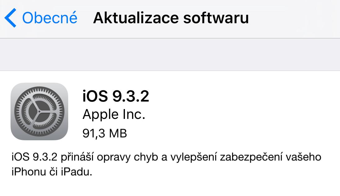 Apple vydává iOS 9.3.2