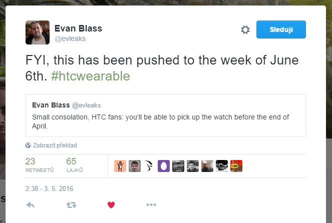 Tweet evleaks o hodinkách od HTC