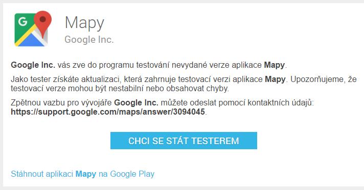 Google Mapy Beta